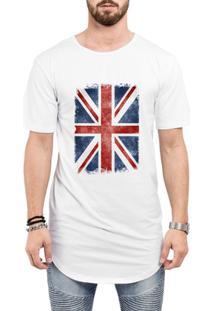 Camiseta Criativa Urbana Long Line Oversized Bandeira Londres - Masculino-Branco