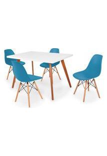 Conjunto Mesa De Jantar Gih 120X80Cm Branca Com 4 Cadeira Eames Eiffel - Turquesa