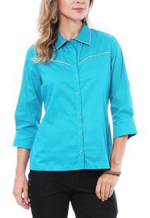 Camisa Moché C/Frizzo 3/4 - Feminino-Azul Turquesa