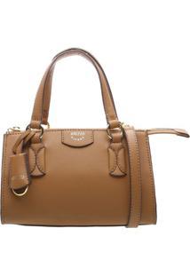 Bolsa Com Pespontos & Bag Charm- Caramelo & Douradaarezzo & Co.