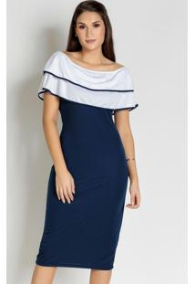 Vestido Ciganinha Azul/Branco Moda Evangélica
