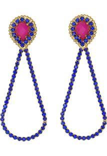 Brinco Prata Mil Gota Invertida Com Pedra Acrilica Pink E Gota Vazada Strass Azul Prata