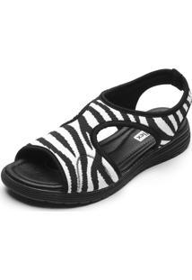 Sandália Comfortflex Zebra Preta/Branca