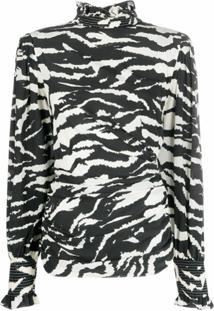 Isabel Marant Blusa Com Estampa De Zebra - Preto