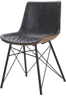Cadeira Ayla Courino Cinza Escuro Base Preto 83Cm - 62851 - Sun House