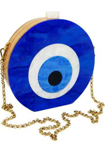 Bolsa La Madame Co Clutch Olho Grego Azul