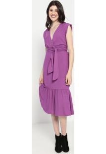 Vestido Liso Com Babado- Roxo- Colccicolcci