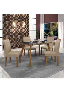 Conjunto De Mesa De Jantar Lavinia Com 4 Cadeiras Pampulha Iii Linho Imbuia Mel Preto
