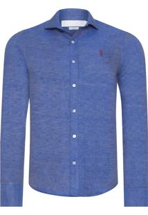Camisa Masculina Linho Double - Azul
