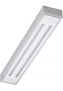 Luminária De Sobrepor Com 2 Lâmpadas Led Tube Valência 10W Bivolt 6500K 65X10Cm Transparente