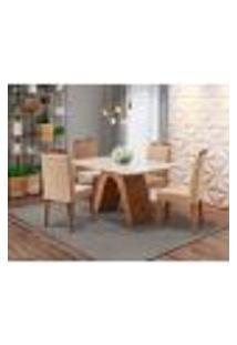 Conjunto De Mesa De Jantar Clara Com Vidro E 4 Cadeiras Paola Suede Off White E Nude