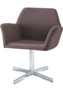 Poltrona Miro Assento Estofado Rustico Marrom Base Fixa Em Aluminio - 55872 - Sun House