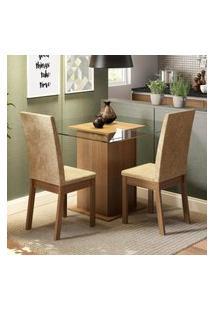 Conjunto Sala De Jantar Madesa Tamy Mesa Tampo De Vidro Com 2 Cadeiras Marrom