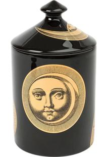 Fornasetti Vaso Com Vela 'Soli E Lune Nero' - Preto