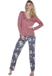 Pijama Inspirate Longo Com Calça Floral Rosa