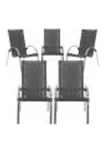 Cadeiras 5Un Para Area Varanda Fibra Sintetica Sala Cozinha Jardim Sacada Garden - Preto