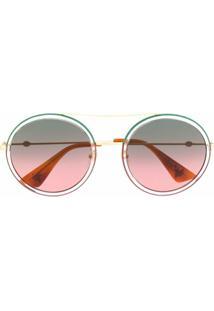 Gucci Eyewear Óculos De Sol Redondo - Neutro