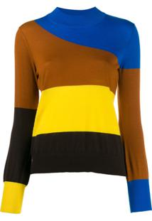 Chinti & Parker Blusa Color Block Listrada - Azul