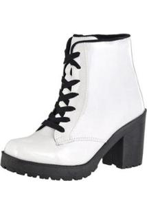 d16a34527 Bota Coturno Cr Shoes Verniz Feminina - Feminino-Branco