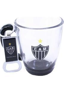 Kit Caneca De Vidro 370Ml+Abridor De Garrafas Atlético Mineiro - Unissex-Preto