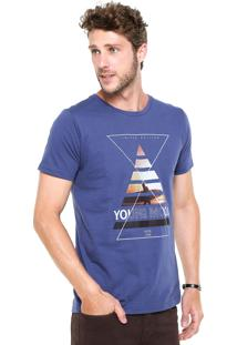 Camiseta Fiveblu Manga Curta Slim Young Mood Azul
