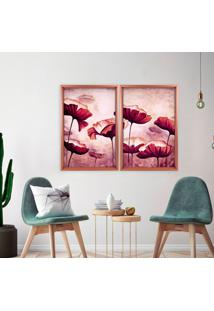 Quadro Com Moldura Chanfrada Flores Roxas Rose Metalizado - Médio