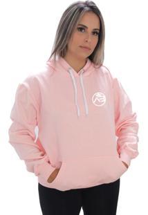 Blusa Moletom Amanda Brazil Logo Pequeno Rosa - Kanui