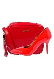 Kit Bolsa + Scarpin Factor Fashion Salto Medio- Vermelho
