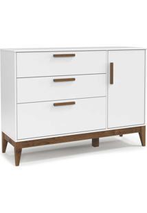 Cômoda C/Porta Nature Branco-Acetinado E Eco Wood Matic Móveis
