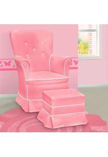 Poltrona Amamentação Sofia Com Balanço E Puff Rosa E Branca - Confortável