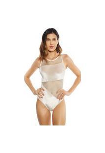 Body Morena Rosa Decote Redondo Cavado Abertura Costa Off White Off-White