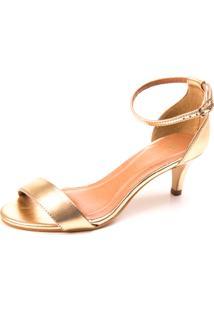 Sandalia Mentha Pimentha Metalizada Dourada