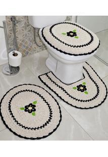 Jogo De Banheiro Crochê Bordado Inglês Produzido Artesanalmente Preto - Bene Casa