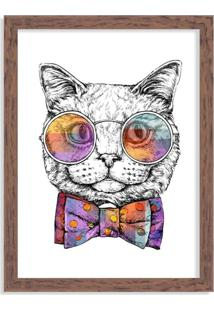 Quadro Decorativo Gato Com Gravata Borboleta Madeira - Grande