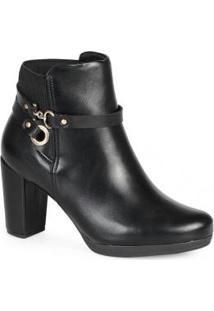Ankle Boots Feminina Conforto Elástico Preto Preto