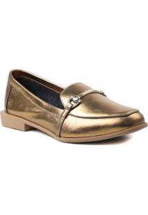 Sapato Feminino Loafer Em Couro Zariff Metalizado