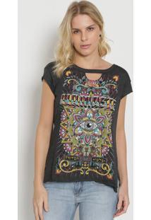 Camiseta Com Vazado - Preta & Verdetriton