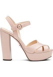 Prada Sandália Com Plataforma - Rosa
