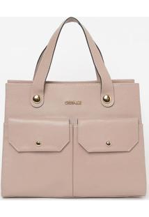 Bolsa Com Bolsos Externos- Rosa Claro- 26X33X13Cmgriffazzi