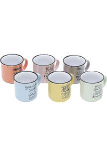 Conjunto 6 Canecas De Porcelana Colorida 130Ml Motive - Bon Gourmet - Colorido