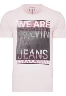 Camiseta Masculina Manga Curta Estampada - Rosa