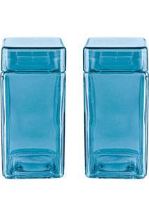 Kit Com Saleiro E Pimenteiro Azul - Euro Home