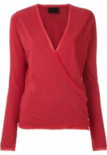 Andrea Bogosian Blusa Transpassada Com Amarração - Vermelho