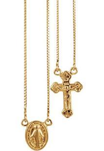 Escapulário De Ouro 18K Medalha Santa Milagrosa E Crucifixo