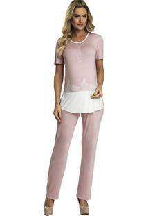 Pijama Recco Em Viscose Stretch E Renda Rosa