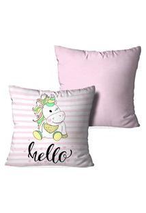 Kit 2 Capas Para Almofadas Decorativas Love Decor Hello Unicorn Multicolorido
