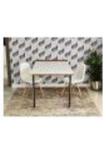 Conjunto De Mesa 1,40 Branco/Noronha + 2 Cadeiras Botonê - Branca