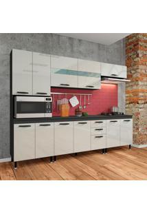 Cozinha Compacta Marília 12 Pt 2 Gv Cinza E Off White