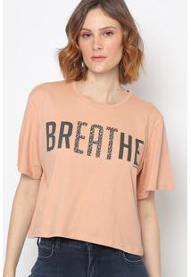 "Camiseta Animal Print ""Breathe""- Bege Claro & Preta-Sommer"