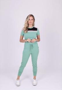 Blusa Miss Misses Moletinho Com Recortes Feminina - Feminino-Verde Claro